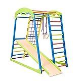 Kinder zu Hause aus Holz, Spielplatz mit Rutschbahn 'Sportwood' Aktivitätsspielzeug, Kindspielplatz, Holzspielzeug, Kletternetz, Ringe, Kletterwand