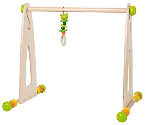 HABA 7302 - Spieltrainer Farbenspaß, höhenverstellbarer Spielbogen aus Holz mit Hängefigur, Motorikspielzeug für Babys ab 0 Monaten