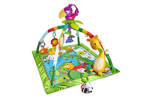 Fisher-Price DFP08 - Rainforest Erlebnisdecke, Krabbeldecke mit Musik und Lichtern, Spieldecke für Babys mit weichem Spielbogen, ab 0 Monaten, mit...