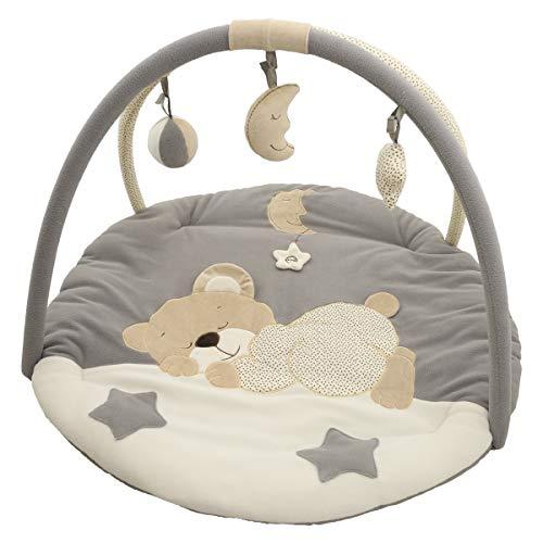 Bieco Krabbeldecke mit Spielbogen für Babys, Schlafbär | ∅ ca. 90 cm | süße Mobile Spieldecke Baby | Activity Center Baby Gym | Spielmatte Baby...