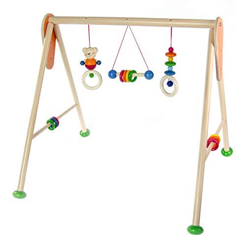 Hess Holzspielzeug 13371 - Spielgerät aus Holz, Serie Bär Henry, für Babys, handgefertigter Spielbogen mit farbenfrohen Figuren und Rasseln, ca. 62...
