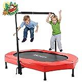 ANCHEER Kindertrampolin, Garten Trampolin für zwei Kinder Indoor / Outdoor zusammenklappbar mit verstellbarem Handlauf Eltern-Kind-Trampolin Fitness...