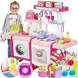 Kinderküche Spielküche Spielzeug Küche KP6030 mit Zubehör Zubehörteile Rosa Neu Küchenspielzeug SpielKüche mit Kochgeschirr, inkl. Licht und...