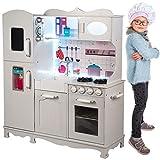 Kinderholzküche Kinderküche Holzküche Kinderspielküche Weiss Spielzeugküche LED GS0053 Spielküche mit Schränken aus Holz extra große...