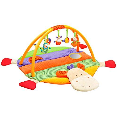 solini Spielbogen Nilpferd - 3-D-Activity-Decke Nilpferd mit Spielbogen & raschelnden Elementen - ab der Geburt geeignet - bunt