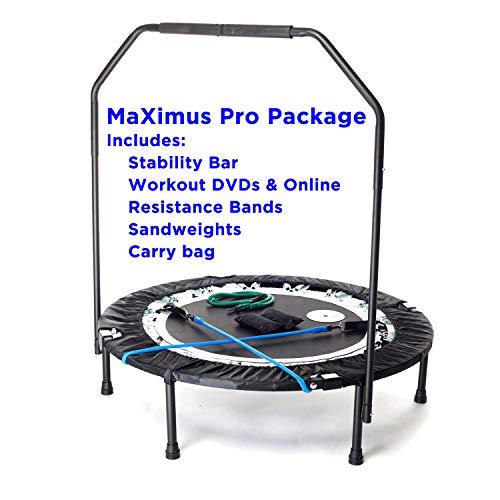 MaXimus PRO Faltbares Trampolin | Nr. 1 Indoor Minitrampolin mit Haltestange für Erwachsene| Bestes Fitnessstudio für zu Hause | KOSTENLOSER...