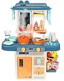 ISO TRADE Kinderküche Spielküche Zubehör Funktion Wasserhahn Kaltdampf 42 Elemente 9569, Farbe:Dunkelblau