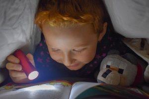 Junge mit Taschenlampe im Bett am Lesen